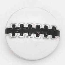 20MM Rugby snap sliver Plated with black enamel KC6658 snaps jewelry