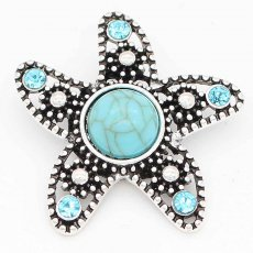 20MM Starfish snap sliver Plated with rhinestones and  greenTurquoise KC6695 snaps jewelry