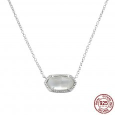 S925 Sterling Silver Kendra Scott style Elisa pendant necklace with white shells GM5001 0.8*1.5cm pendant size