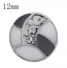 12MM design snap with white Rhinestone and white Enamel KS5184-S interchangeable snaps jewelry