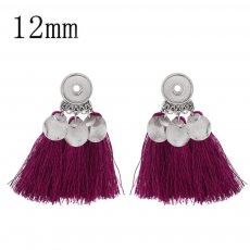 snap sliver tassel earrings with Rose red line fit 12MM snaps jewelry KS1213-S