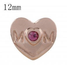 12MM mother Rose Gold Plated with pink rhinestone KS5232-S snaps jewelry
