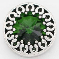 20MM design snap Silver Plated with Green rhinestone KC6741 snaps jewelry