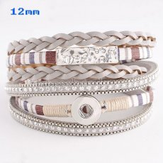 Partnerbeads 40cm 1 snaps button gray leather bracelets fit 12mm snaps KS0630-S