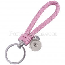 PU leather Keychain Keychain with button fit snaps chunks KC1118 Snaps Jewelry