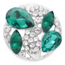 20MM design snap silver Plated with green rhinestone KC6913 snaps jewelry