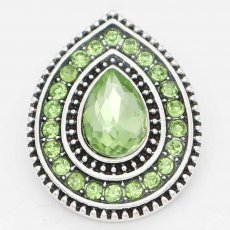 20MM design snap Silver Plated with dark Green rhinestone KC6718 snaps jewelry