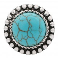 20MM Round snap Silver Plated with green Turquoise stone  KC6559 snaps jewelry