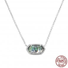 S925 Sterling Silver Kendra Scott style Elisa pendant necklace with abalone shells GM5003 0.8*1.5cm pendant size