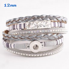 Partnerbeads 40cm 1 snaps button gray leather bracelets fit 12mm snaps KS0627-S