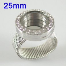 Stainless Steel RING  Mix6-10# size  with Dia 25mm floating charm locket silver color