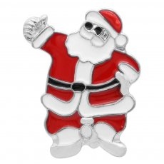 20MM Christmas Santa Claus snap Silver Plated   enamel KC6959 snaps jewelry