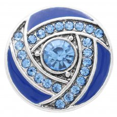 20MM snap Silver Plated with blue Rhinestone enamel KC7833 snaps jewelry