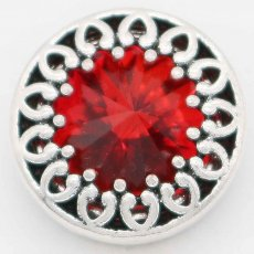 20MM design snap Silver Plated with Red rhinestone KC6742 snaps jewelry
