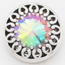 20MM design snap Silver Plated with Color rhinestone KC6740 snaps jewelry