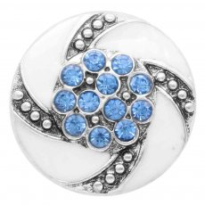 20MM snap Silver Plated with blue Rhinestone KC7834 snaps jewelry