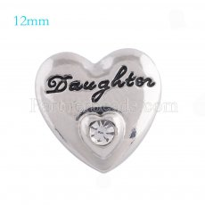 12mm daughter snaps Silver Plated with white rhinestone KS5112-S snap jewelry