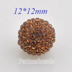 12mm Brown STELLUX Austrian crystal ball beads