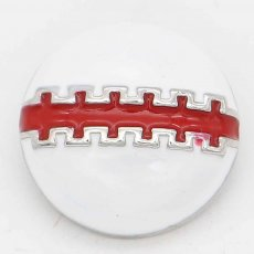 20MM Rugby snap sliver Plated with red enamel KC6660 snaps jewelry