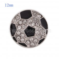 12MM Football snap with white Rhinestone and black Enamel KS5144-S interchangeable snaps jewelry