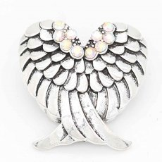 20MM Wings snap sliver Plated with colorful rhinestones KC6708 snaps jewelry
