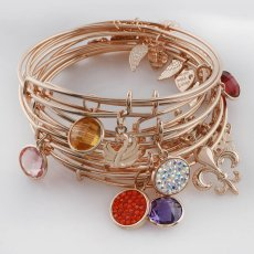 10pcs Wire Bangle  with MIX charm random typeall High quality Rose Gold plated  Alex and Ani style Expandable
