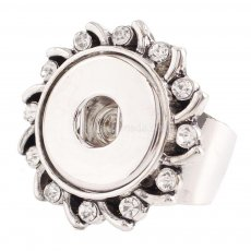18MM 8# snaps adjustable metal Ring with rhinestone KC0918 snaps jewelry