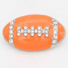 20MM Rugby with orange Francs snap sliver Plated with rhinestones KC6667 snaps jewelry