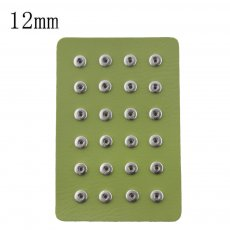 Display of 24 pieces PU leather green type for 12MM snaps chunks