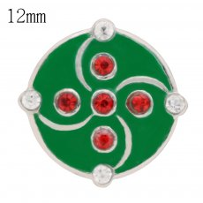 12mm Christmas snaps Silver Plated with Rhinestone and enamel KS6370-S snap jewelry