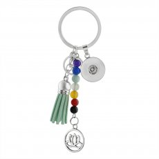 fashion Keychain with pendant and colorful beads fit snaps chunks KC1198 Snaps Jewelry