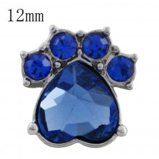 12MM Dog claws snap with blue Rhinestone KS5180-S interchangeable snaps jewelry