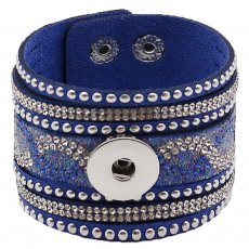 Partnerbeads 21CM blue leather bracelets fit 18/20MM snaps chunks KC0295 snaps jewelry