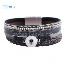 Partnerbeads 7.6 inch 1 snap button leather bracelets fit 12mm snaps KS0637-S