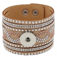 Partnerbeads 21CM brown leather bracelets fit 18/20MM snaps chunks KC0294 snaps jewelry