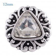 12MM snap Antique Silver Plated with faceted white crystal KS6079-S snaps jewelry