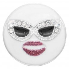 20MM  Smiling face snap Silver Plated with white rhinestone and enamel KC7917 snaps jewelry