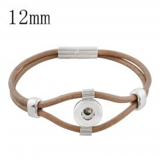 18CM brown real leather bracelets KS1173-S fit 12MM snaps chunks