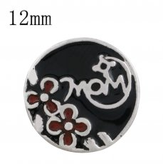 12MM mother snap silver plated with black enamel KS6317-S snaps jewelry