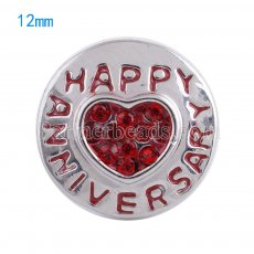 12mm snaps Silver Plated with red rhinestone KS5047-S snap jewelry