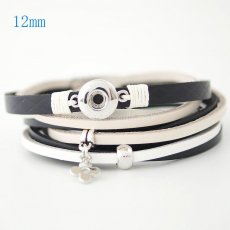 15.35inch PU leather bracelets fit 12MM snaps chunks