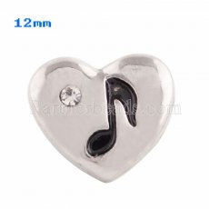 12MM Loveheart snap Silver Plated with white Rhinestone KS9634-S snaps jewelry