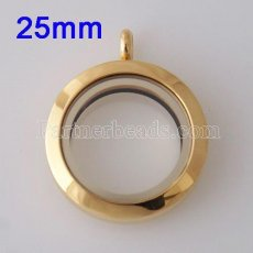 25MM Gold plating magnet Stainless steel floating charm locket