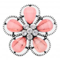 20MM Flowers design snap Silver Plated with pink rhinestone KC6942 snaps jewelry