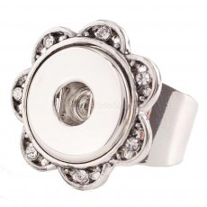 18MM 8# snaps adjustable metal Ring with rhinestone KC0919 snaps jewelry