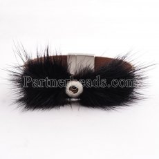 Partnerbeads 19.5cm 1 snaps button black leather bracelets with feather fit 12mm snaps KS0620-S