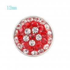 12mm snaps button with red rhinestone KS2702-S snaps jewelry