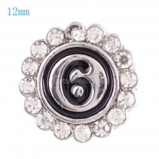 12mm Small size snaps with white Rhinestone for chunks jewelry
