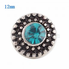 12MM Round snap Silver Plated with cyan Rhinestone KS9643-S snaps jewelry