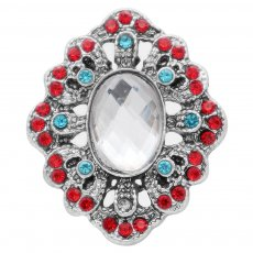 20MM design snap silver Plated with red rhinestone KC6935 snaps jewelry